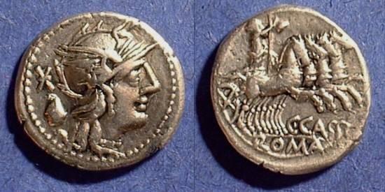 Ancient Coins - Roman Republic - Cassia 1  Denarius Circa 126BC