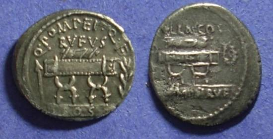 Ancient Coins - Roman Republic: Q. Pompeius Rufus Denarius 54BC