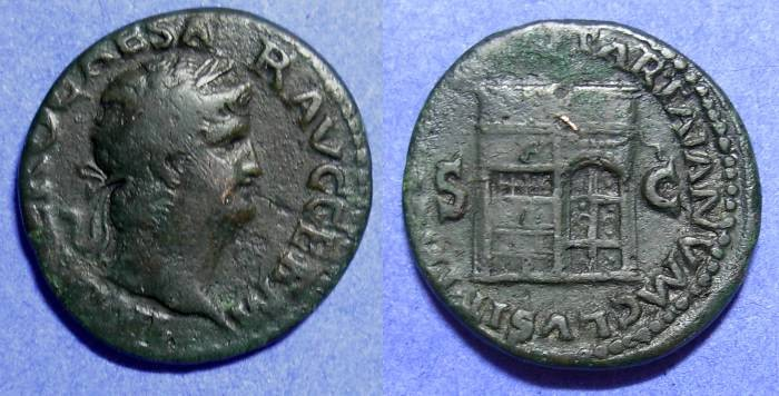 Ancient Coins - Nero - 54-68AD -Aes with Temple of Janus