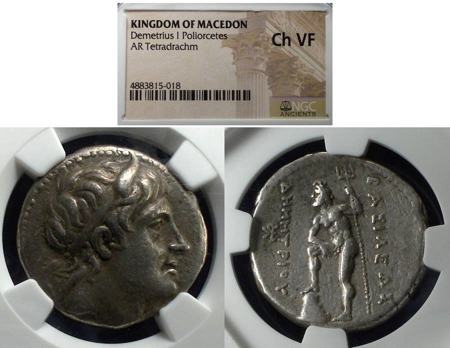 Ancient Coins - Macedonian Kingdom, Demetrios I Poliorketes 306-283 BC, Tetradrachm