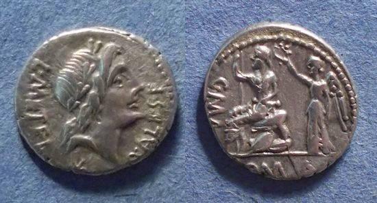 Ancient Coins - Roman Republic, L Caecilius Metellus 96 BC, Denarius