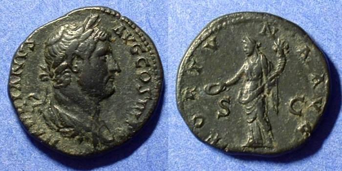 Ancient Coins - Hadrian 117-138AD AE Aes