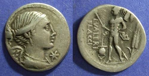 Ancient Coins - Roman Republic, L Valerius Flaccus 108-107, Denarius