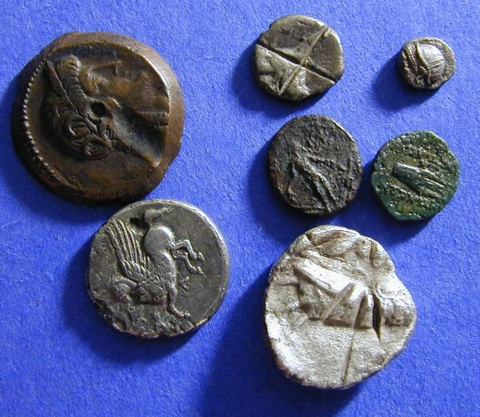 Ancient Coins - 7 Greek coins - interesting mix for the beginner