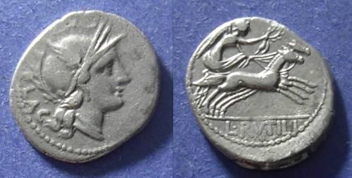 Ancient Coins - Roman Republic, Rutilius Flaccus 77 BC, Denarius
