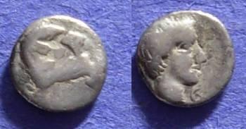 Ancient Coins - Halikarnassos Caria Circa 380 BC –--- 1/4 Obol????----