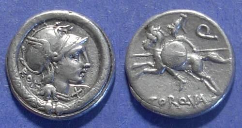 Ancient Coins - Roman Republic, L Torquatus 113-112 BC, Denarius