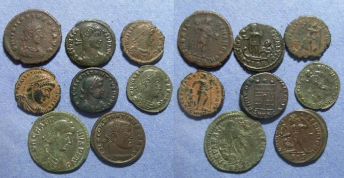 Ancient Coins - Roman Empire, Group of eight bronze coins 4th Century AD,