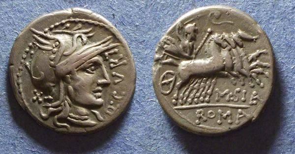 Ancient Coins - Roman Republic, Q Curtius 116/115 BC, Denarius