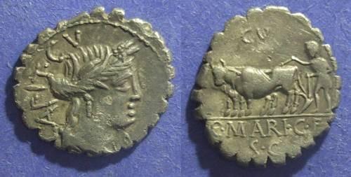 Ancient Coins - Roman Republic, C Marius C f Capito 81 BC, Denarius