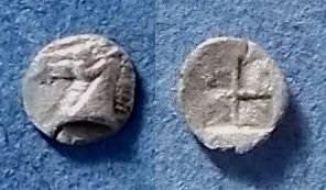 Ancient Coins - Kyme, Aiolis 500-475 BC, Tetartemorion