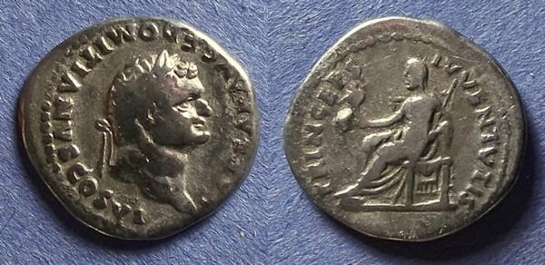 Ancient Coins - Roman Empire, Domitian (Caesar) 69-81, Denarius