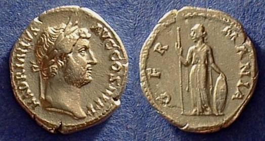 Ancient Coins - Hadrian 117-138 Denarius with Germania reverse!