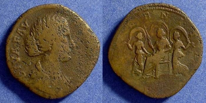 Ancient Coins - Diva Faustina Jr. d.175AD - Sestertius