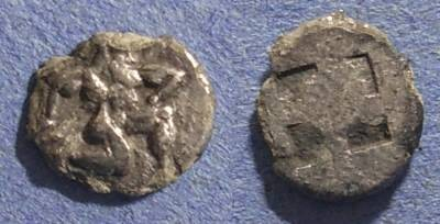 Ancient Coins - Thasos, Island off thrace, 500-463 BC, Diobol