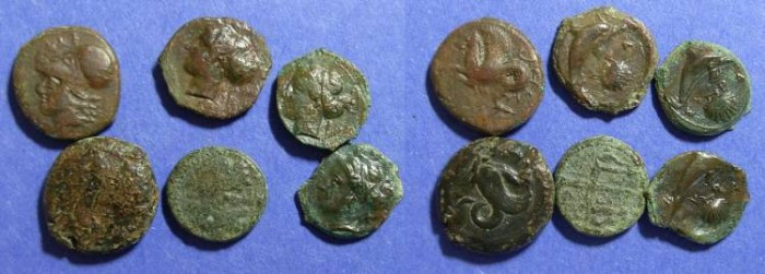 Ancient Coins - 6 AE coins of Syracuse Sicily  400 to 150 BC