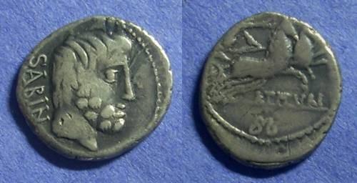 Ancient Coins - Roman Republic - L Titurius L f Sabinus Denaius - 89 BC