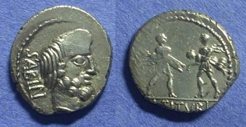 Ancient Coins - Roman Empire - L Titurius L f Sabinus Denarius - 89 BC