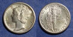 Us Coins - United States,  1934, Silver Mercury Dime, MS63
