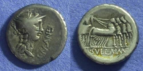 Ancient Coins - Roman Republic - L. Manlius Torquatus. 82 BC. Denarius.