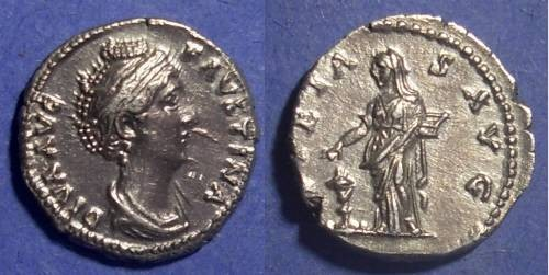 Ancient Coins - Roman Empire, Faustina Sr d.141 AD, Denarius