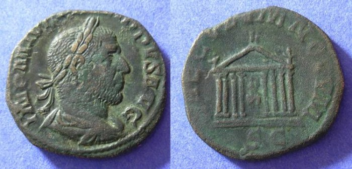 Ancient Coins - Philip 244-249 - Sestertius with Temple reverse