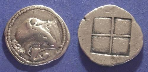 Ancient Coins - Akanthos, Macedonia 470-390 BC, Tetrobol