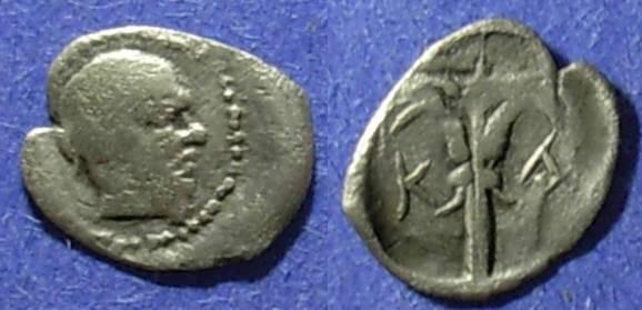Ancient Coins - Katane, Sicily 450-405 BC, Hemilitra