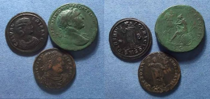 Ancient Coins - Roman Empire: Three Tooled/Smoothed coins, Trajan, Jovian and  Valeria ,