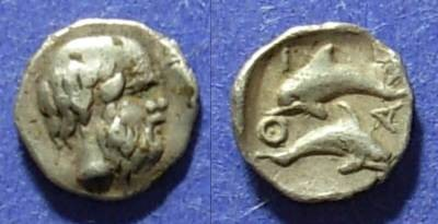 Ancient Coins - Thasos, Island off ot Thrace 411-350 BC, Hemiobol