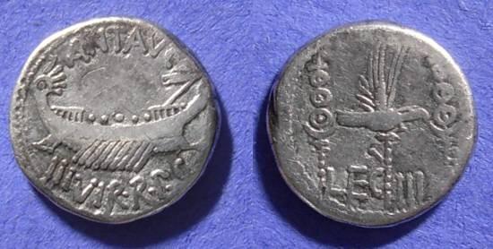 Ancient Coins - Marc Antony D. 30 BC Denarius of Legion III