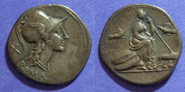 Ancient Coins - Roman Republic, Anonymous 115-114 BC, Denarius