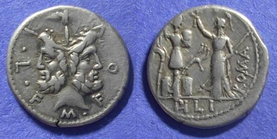 Ancient Coins - Roman Republic – Furia 18, 119 BC – Denarius