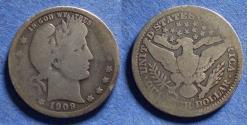 Us Coins - United States,  1909-O, Silver Barber Quarter