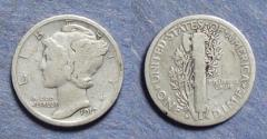 Us Coins - United States,  1919-D, Mercury Dime, VG