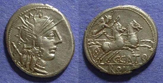 Ancient Coins - Roman Republic, C Cato 123 BC, Denarius