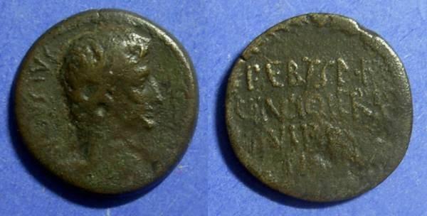 Ancient Coins - Corinth, Augustus 27BC-14AD, AE22