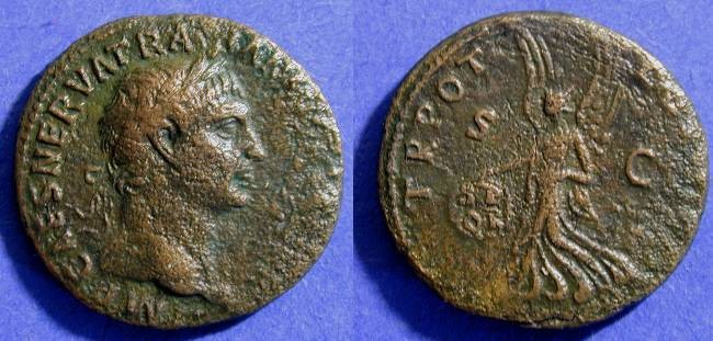 Ancient Coins - Trajan 98-117AD - Aes with Victory