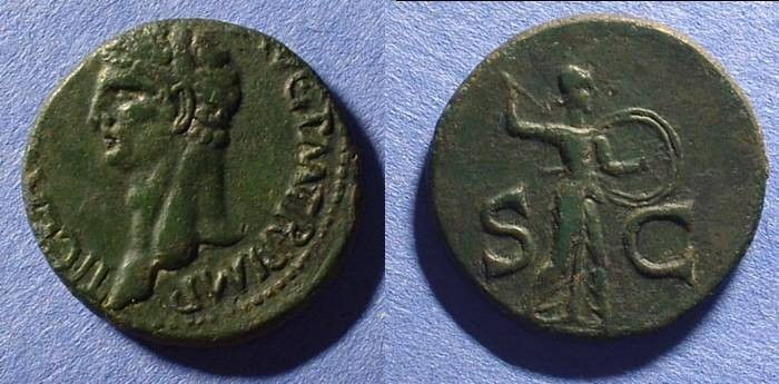 Ancient Coins - Claudius 41-54AD  As - Nice green patina