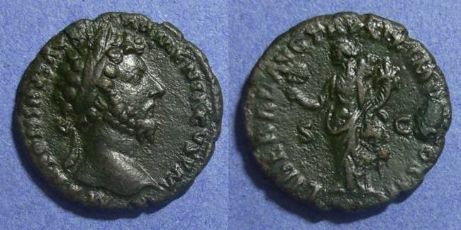 Ancient Coins - Roman Empire, Marcus Aurelius 161-180 AD, As