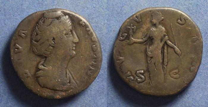 Ancient Coins - Roman Empire, Diva Faustina Sr d. 141, Sestertius