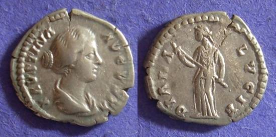 Ancient Coins - Faustina Jr. (Wife of M. Aurelius)- D. 175 Denarius