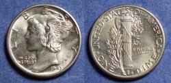 Us Coins - United States,  1943, Silver Mercury Dime, MS65 FSB