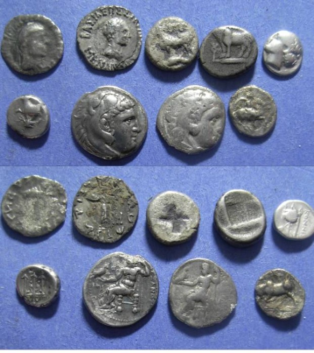 Ancient Coins - 9 Greek silver coins - Diobol to Drachm