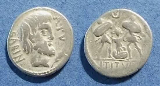 Ancient Coins - Roman Republic, L Titurius Lf Sabinus 89 BC, Denarius