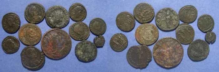 Ancient Coins - 12 Roman coins, 251 to 457 AD, 251-457 AD ,