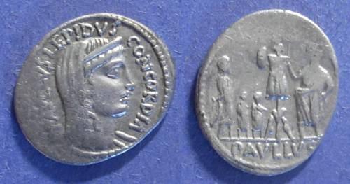 Ancient Coins - Roman Republic, L Aemilius Lepidus Paullus 62 BC, Denarius