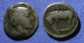 Ancient Coins - Thouroi, Lucania Circa 400 BC, Diobol