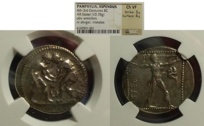 Ancient Coins - Aspendos, Pamphylia 380-325 BC, Stater NGC Choice VF