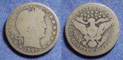 Us Coins - United States,  1897-O, Silver Barber Quarter, AG3